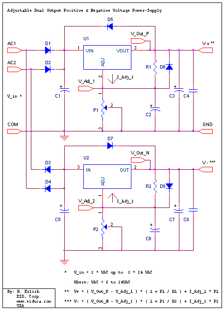 circuit diagram variable resistor electronic kits adj positive and negative 1 25vdc to  electronic kits adj positive and negative 1 25vdc to