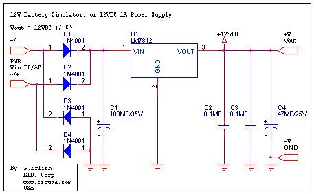 Electronic Kits 12V battery simulator/eliminator